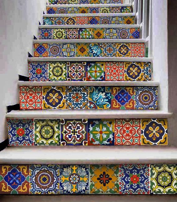 The Best Mexican Tile Stairs For Your Spanish Style Décor Diy Ideas.  Kitchen Bathroom Wall Stair Riser ...